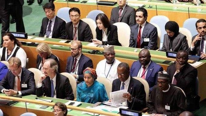 The Nigerian delegation to the previous United Nations General Assembly. Photo : RR