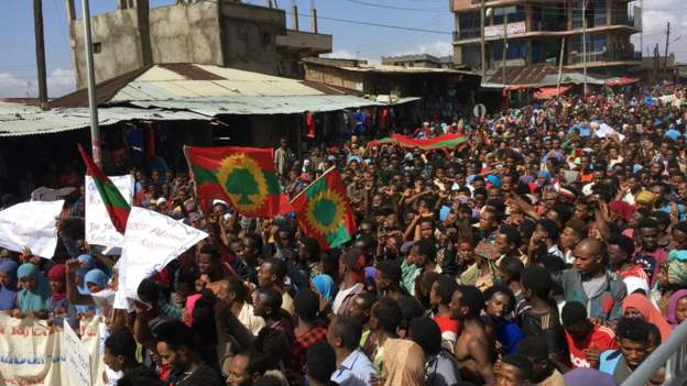 2nd Day of Protest over land in Second Ethiopia. Credit/BBC