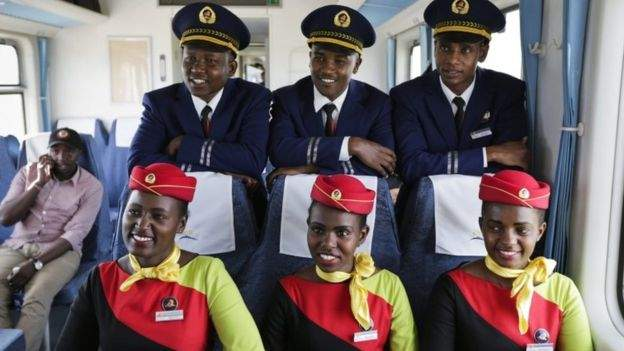 The new train line has made it easier to travel between Kenya's two biggest cities. Credit/BBC