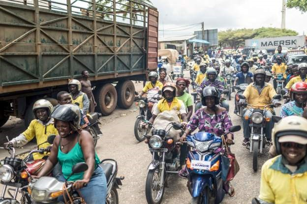 Motorcycle drivers rallied with the opposition to express disappointment with the electoral commission as Friday is the last day of campaigning for the legislative elections in the Republic of Benin