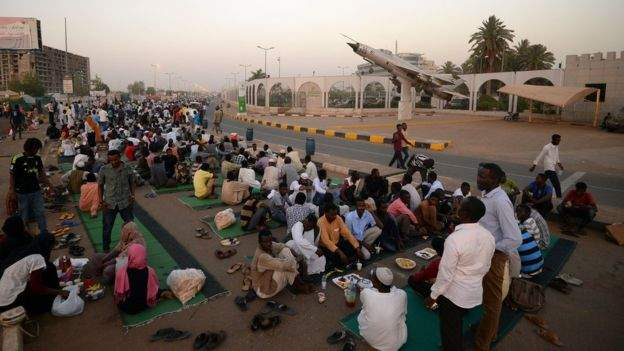 Protesters have been sitting outside the military HQ for weeks. Credit/BBC