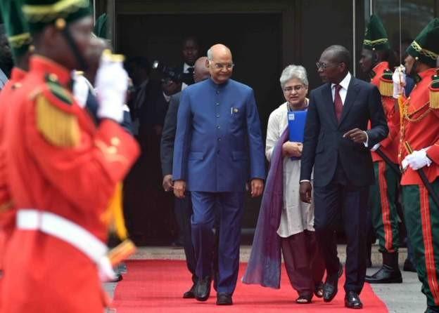 Ram Nath Kovind was received in Cotonou by President Patrice Talon on Monday