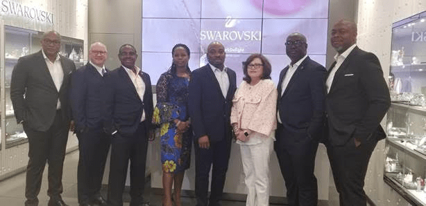 L-R: Mitchell Elegbe, Founder/GMD, Interswitch Group, Joseph Hurley, Snr. Vice President, Payment Services, Discover Financial Services, Francis Gbenga Shobo, Deputy Managing Director, First Bank, Olubusola Osilaja, Divisional head, eBusiness, Access Bank, Martins Izuogbe, Divisional Head, Operations, Fidelity Bank, Diane Offereins, Executive Vice President, Payment Services, Discover, Chuma Ezirim, Group Executive, Retail & E-Business, First Bank, and Mike Ogbalu, Divisional CEO, Verve, at the Verve Global Card Launch in New York, on Monday.