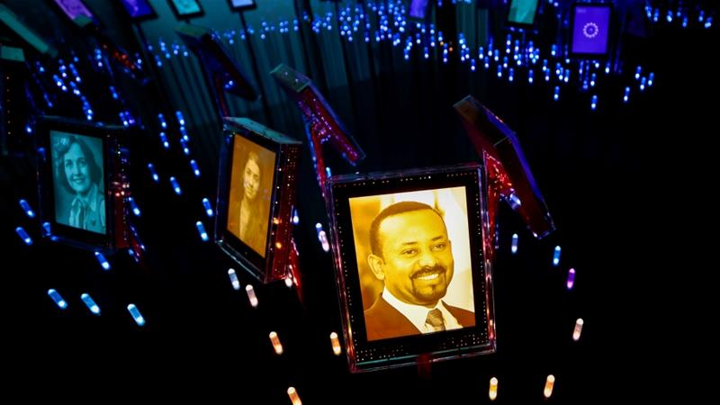 A picture of the 2019 Nobel Peace Prize Laureate, Ethiopian Prime Minister Abiy Ahmed, is displayed at the Nobel Peace Center in Oslo, Norway, October 11, 2019 [Reuters]