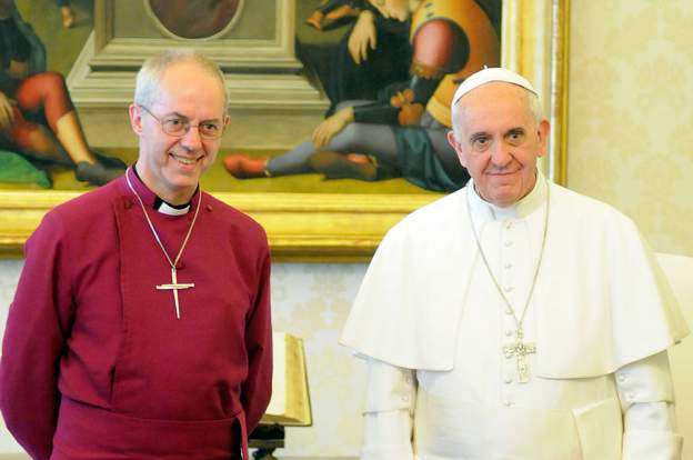 "Justin Welby (L) has said he and the Pontiff have a ""shared passion"" for peace in South Sudan. Credit/BBC"