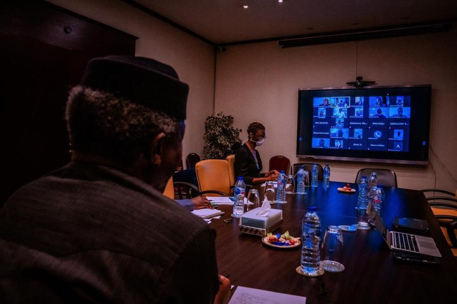 Nigeria's Vice President, Yemi Osinbajo shared a photo of his meeting with government officials via Video Teleconferencing.