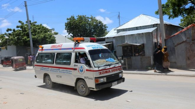 Al-Shabab Claims Responsibility in Moghadishu Bombing: An ambulance is seen near the site of the explosion in Mogadishu. Credit: BBC