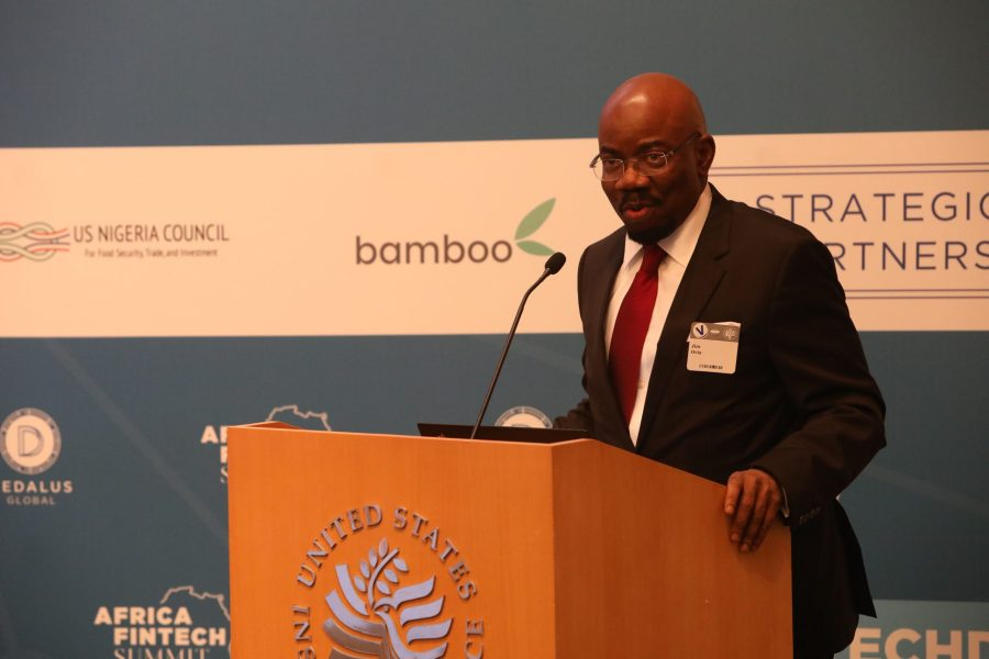 Fintech: Jim Ovia, Founder and Chairman of Zenith Bank, speaking at the AFTS 2019 in Washington, DC