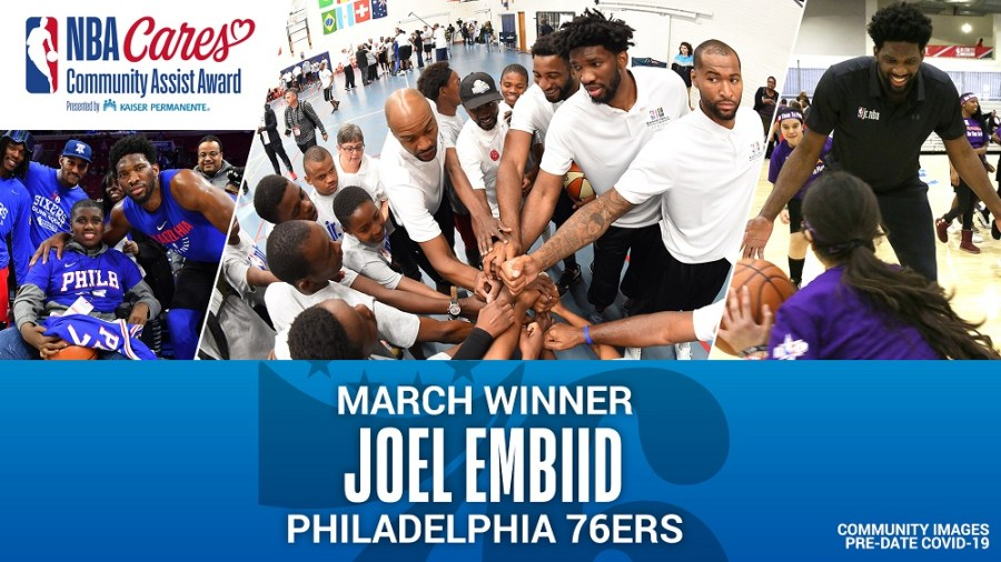 Philadelphia's Joel Embiid receives march NBA Cares Community Assist Award