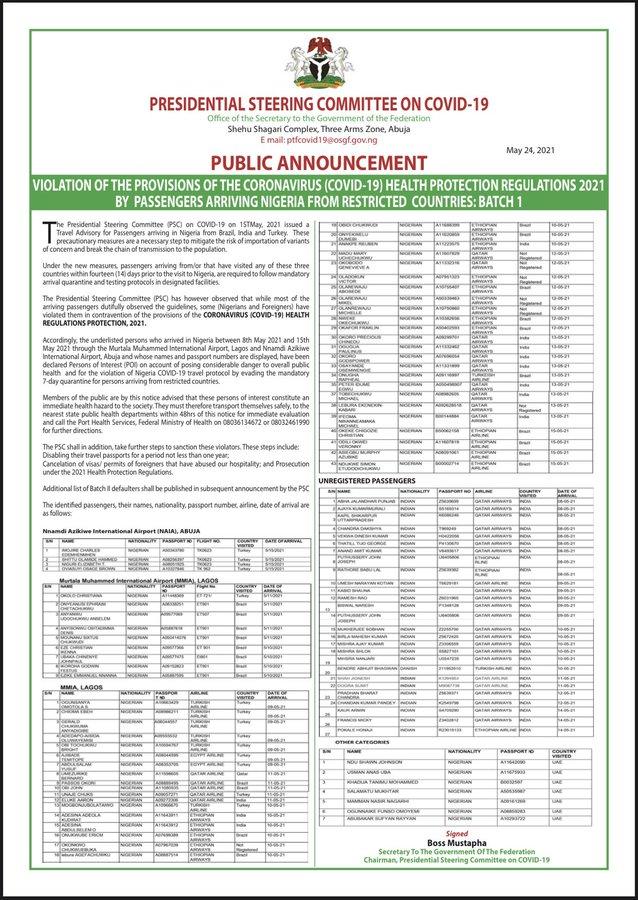 Nigeria names 'Covid test fugitives'