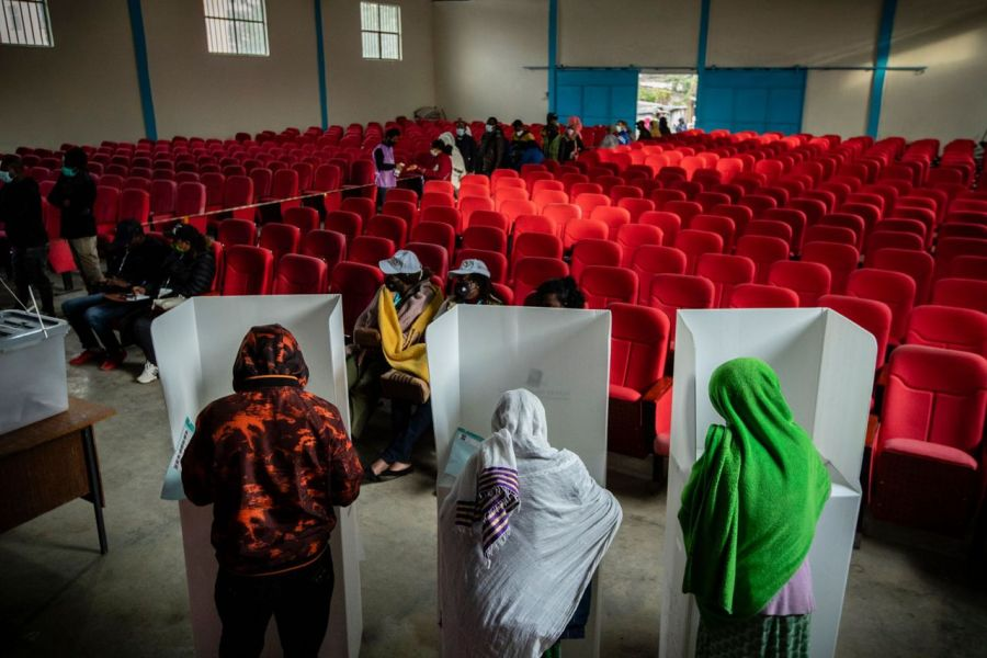 Ethiopians cast their votes in the general election at a polling center in the capital Addis Ababa, Ethiopia on June 21, 2021
