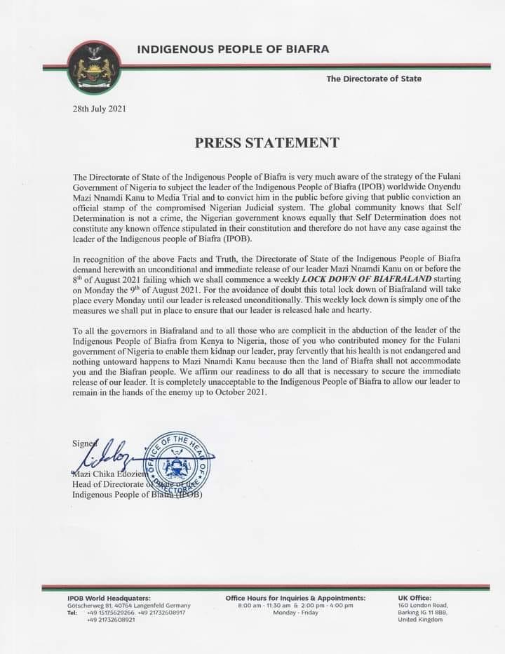 Biafra letter
