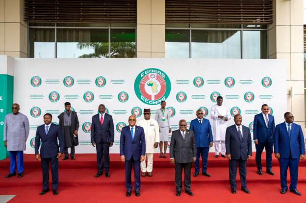 Ecowas leaders (pictured) announce sanctions almost a fortnight after Guinea's coup. Credit/BBC