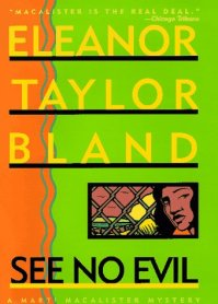Orange left wavy border with green cover. Eleanor Taylor Bland See No Evil