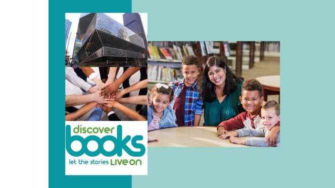 Image of Seattle public library and logo of Discover Books with an image of many hands together of diverse colors. To the right of that column of images is a picture of a librarian with 4 kids at a library table smiling with library shelves in background.