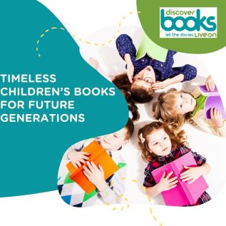 Timeless Children's Books for Future Generations with children in a circle holding books.