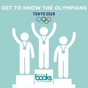 Get To Know The Olympians at Summer Olympics Tokyo 2020 with shadow characters on the winners podium with medals around their necks