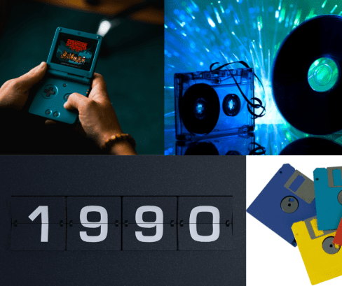 Image of technology from the 1990s - Gameboy, floppy disks, cds with broken cassette tapes,
