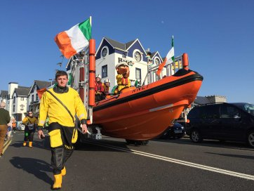 The Bundoran RNLI Lifeboat Crew taking part in the parade