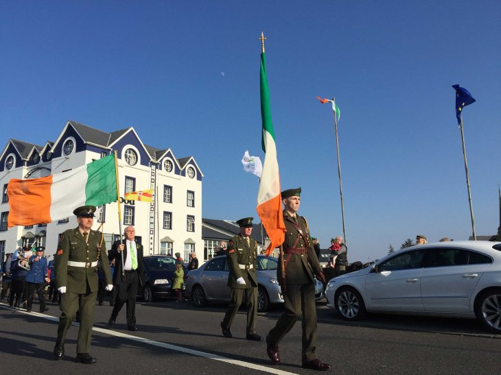 The tricolour carried by a colour party from the 28th Infantry Battalion at Finner Camp and Grand Marshall Sean Brennan