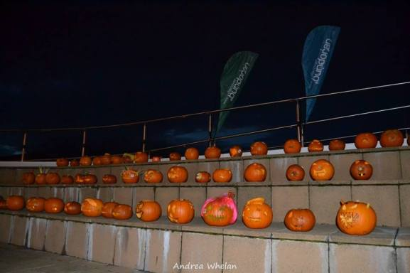 The pumpkins on display at the library