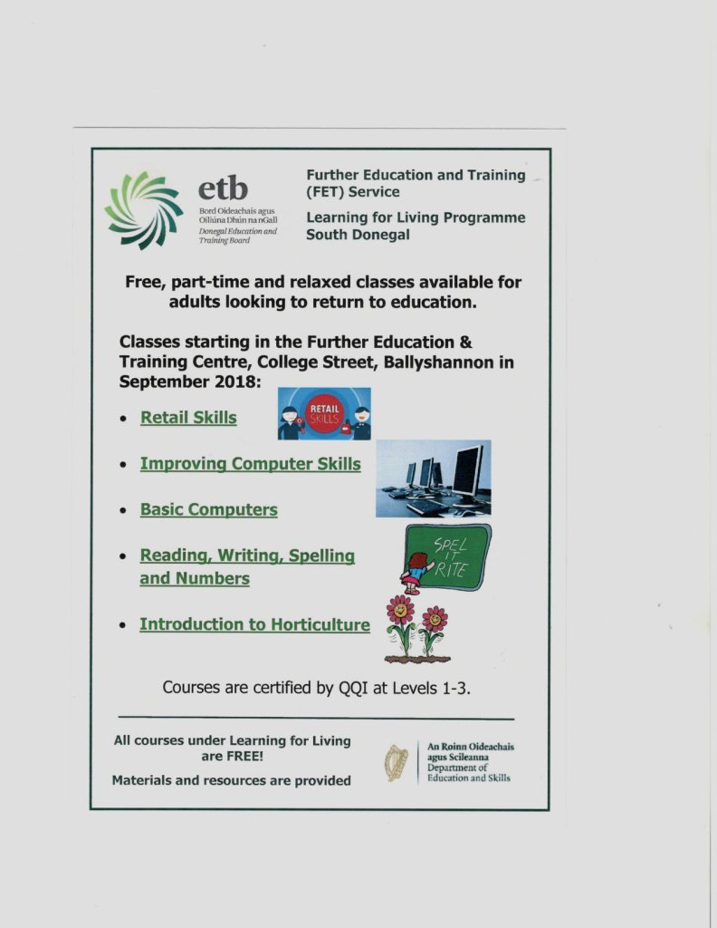 ETB courses Ballyshannon - bundoran winter courses