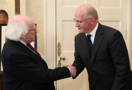 President receives a commemorative silver 'Rory Gallagher' coin commissioned by Central Bank in Aras An Uachtarain todayPresident Higgins hosted an event to mark the unveiling of a new commemorative coin in honour of the legendary Irish guitarist Rory Gallagher.Pic shows: Central Bank Governor Philip R. Lane meeting President Michael D. Higgins.Pic Maxwell's/Áras An Uachtaráin 17-9-18