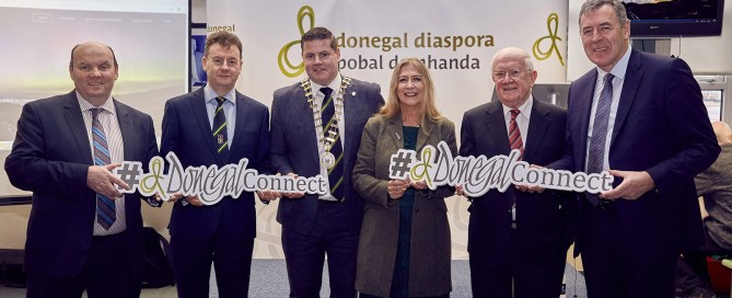 Pictured at the launch of Donegal Connect at Donegal Airport on Friday is Garry Martin, Donegal County Council, Seamus Neely, Donegal County Council, Cllr. Seamus O'Domhnaill (Cathaoirleach), Pat The Cope Gallagher TD, Mairead Ní Mhaoinaigh and Packie Bonner. Donegal Connect is a 10 day celebration taking place this autumn encouraging Donegal people to return home for the celebration.