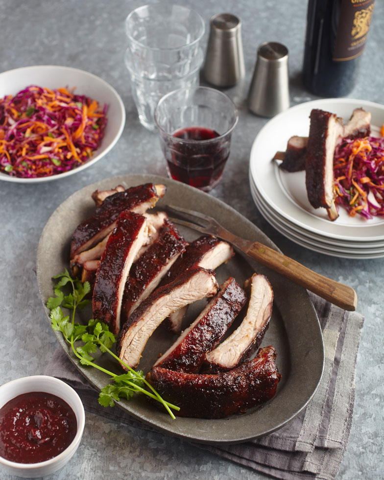 Grilled Baby Back Ribs with Smoky Cherry BBQ Sauce and Red Cabbage Citrus Slaw – Discover California Wines
