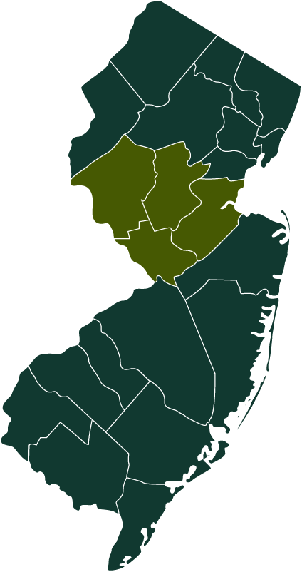 New Jersey Highlighting Central New Jersey Counties In Green About Us - Collaborative Initiative