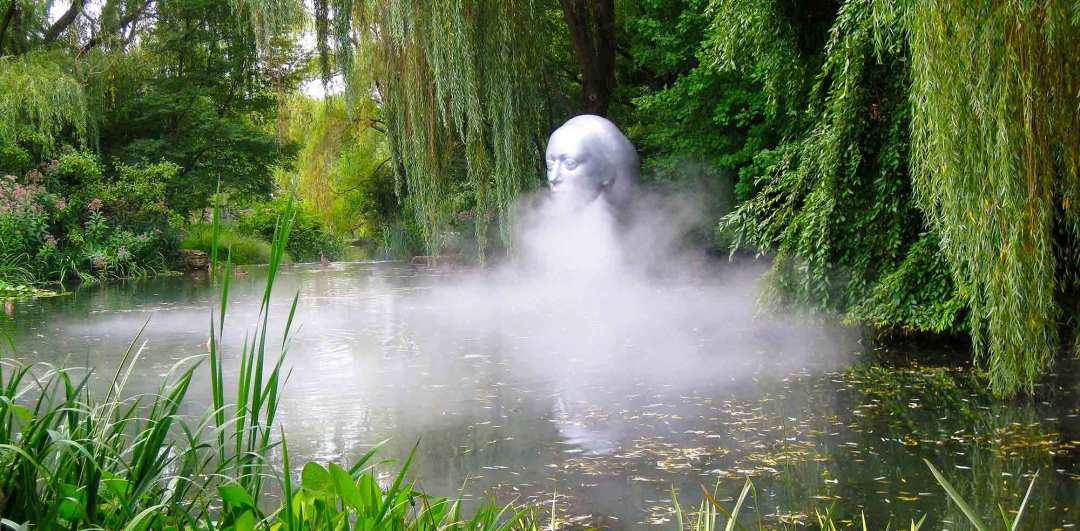 Mystical Outdoor Head Sculpture in Pond with Fog at Grounds For Sculpture - Why Central Jersey?
