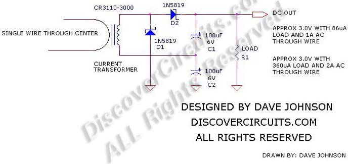 Circuit: #380Energy Harvesting using a Current Transformer