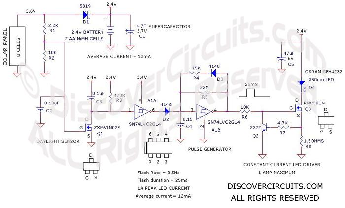 High Power Flashing LED Solar Path Light__ Circuit