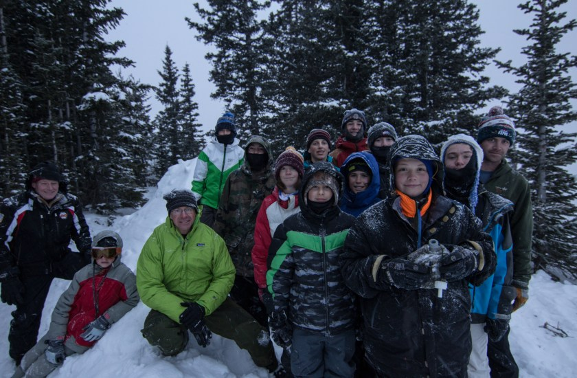 7th & 8th grade boys' Outdoor Ed trip building quinzees (snow caves) on the top of Aspen Mountain