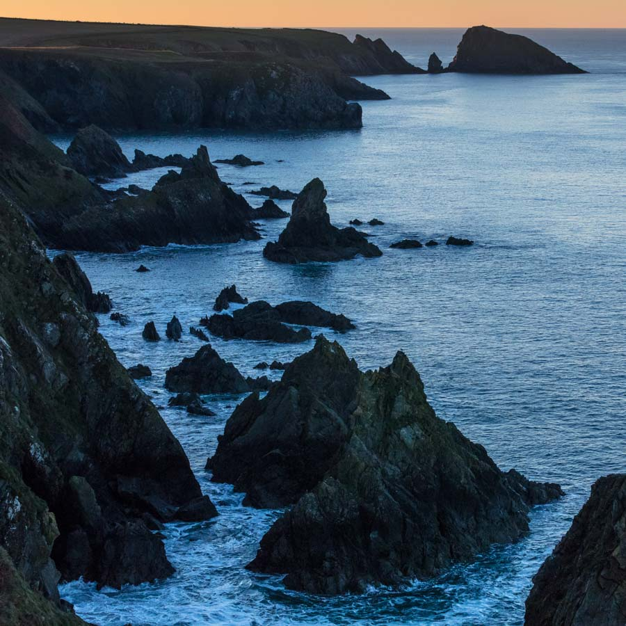 Dusk between Abercastle and Pwllstrodur, Pembrokeshire.