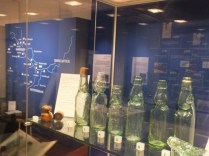 Decorative glass bottles on display