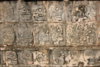 The temple of skulls has walls with relief carvings of human skulls