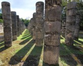 row of pillars surrounding the temple of Guerreros