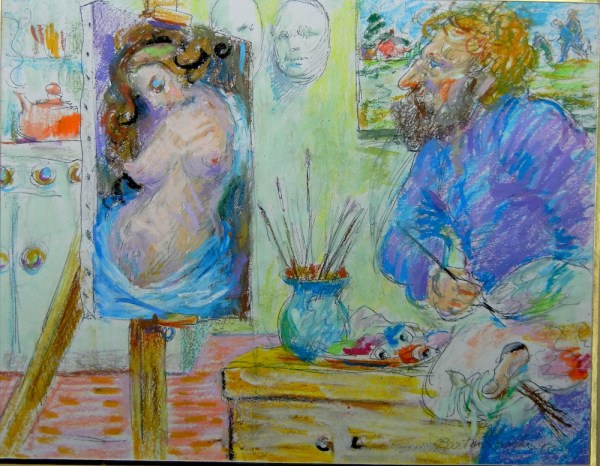 Self-portrait painting a Nude