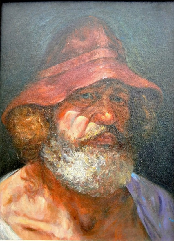 Self-portrait in Red Hat