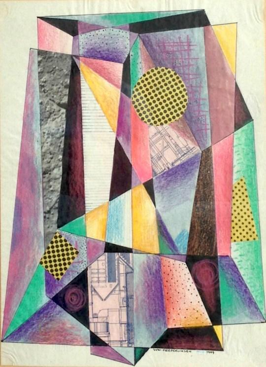 Untitled (Constructivist collage - Prisms)