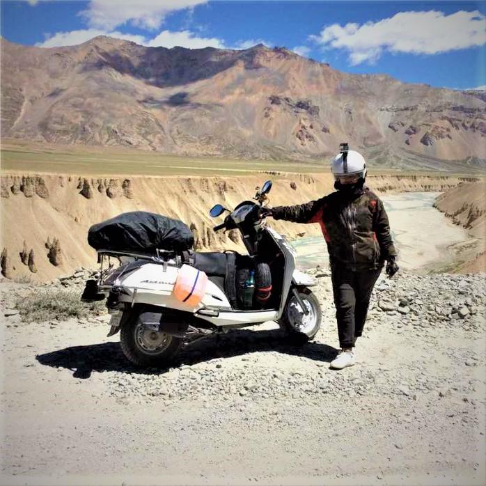 Rider with Honda Activa near Leh