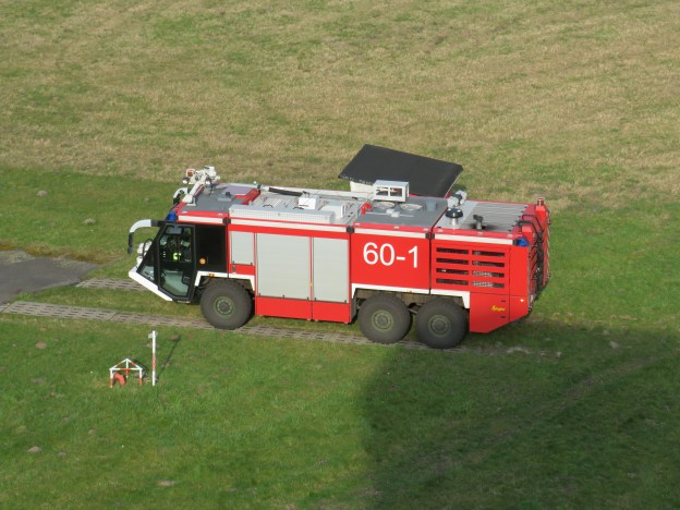 Fire Engine 60-1 on standby next to the control tower at German Army Military Airbase Celle-Wietzenbruch (ETHC)