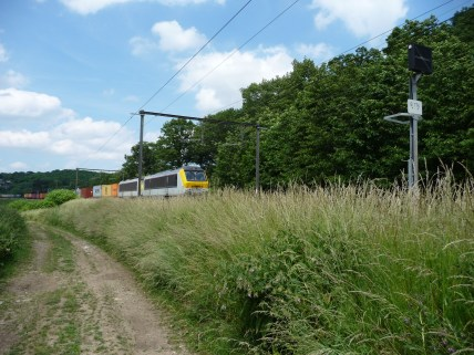 Railyway and train near Archennes