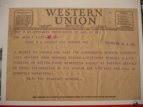 Western Union telegraph Lieutenant Wendall Luce missing in action