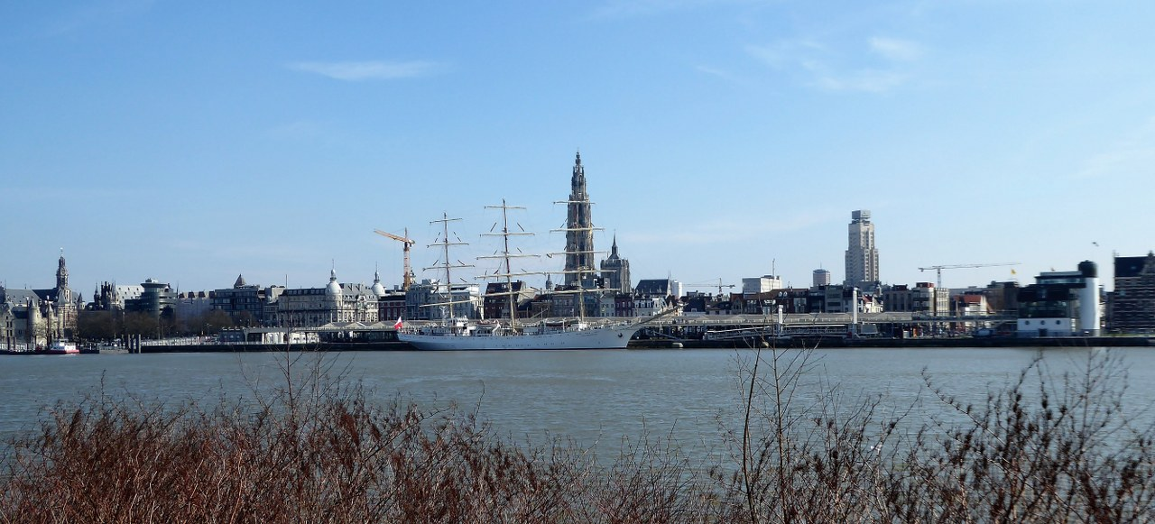View over the River Schelde to Antwerp city
