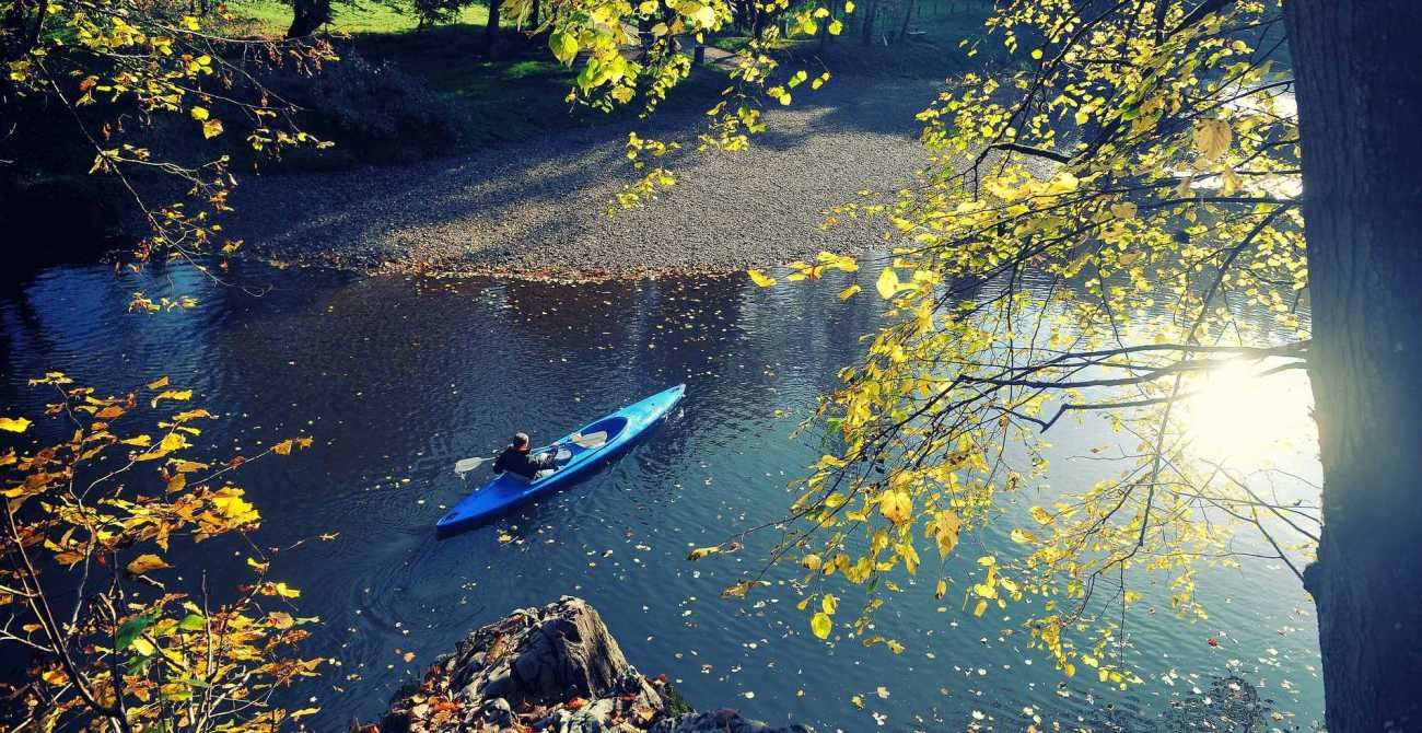 Canoeing down the Lesse, Belgium