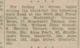 Newspaper article John Mood failing to observe blackout WW2