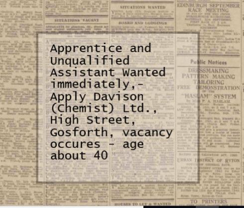 Discovering Heriutage photo of Davison's Chemist Shop Gosforth High Street News Advert.