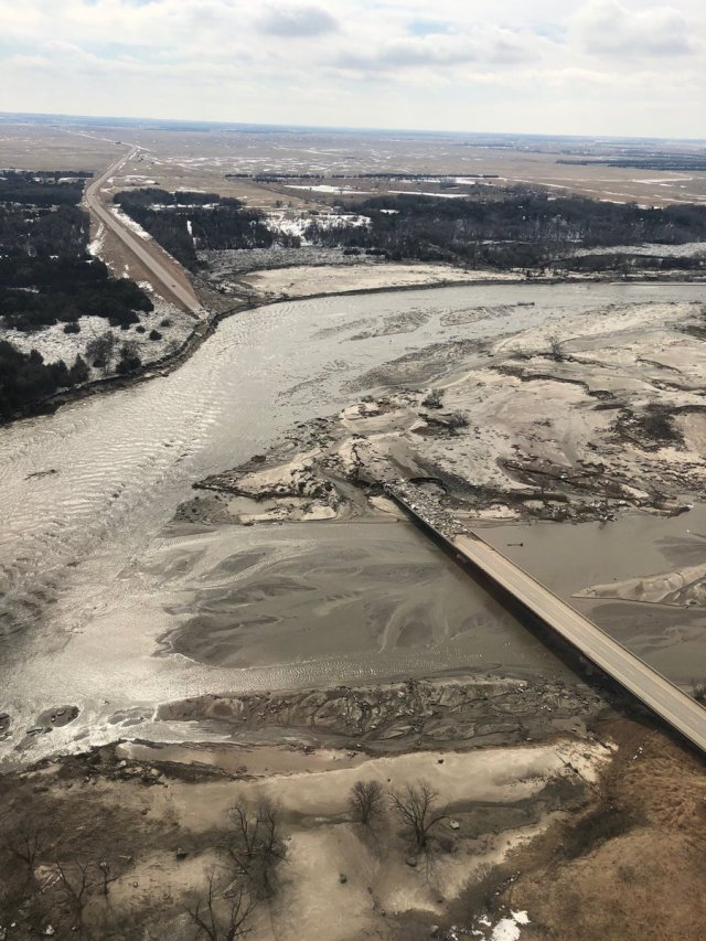 Bridge over river washed out do to flooding